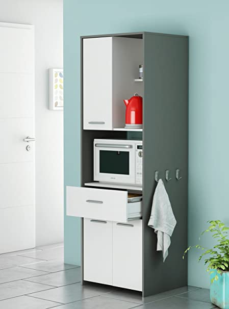 Armario Alto Auxiliar o buffe para Cocina en Color Blanco y Gris Grafito con Cajon 180x60x50 cm