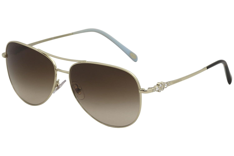 91e74a4298b8 Amazon.com: Tiffany & Co. Women TF3052B 59 Gold/Brown Sunglasses 59mm:  Clothing