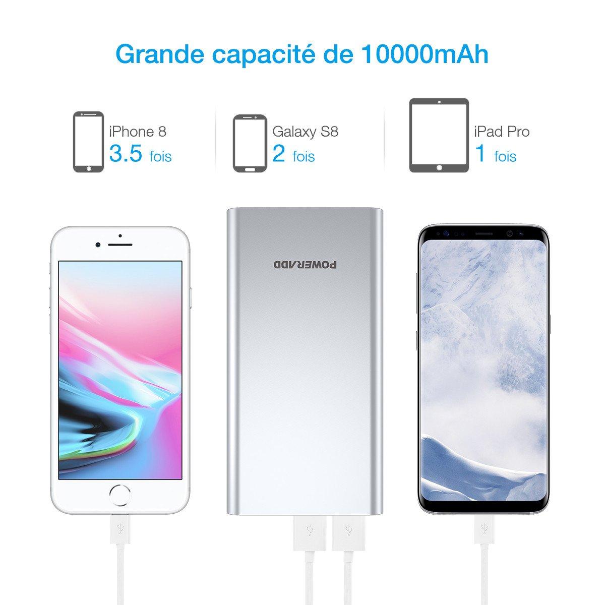 Poweradd Pilot 2GS 10000mAh Grande Capacité Chargeur Batterie Portable de Secours Externe (Apple câble non inclus) pour iphone6/6plus iphone 7/7plus,ipad, samsung S7, et Aurtre Smartphone- Argent