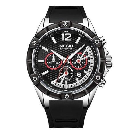 Megir Relojes Hombres Correa De Goma De Silicona Impermeable Wristswatch Nueva Marca De Cuarzo Funciones De