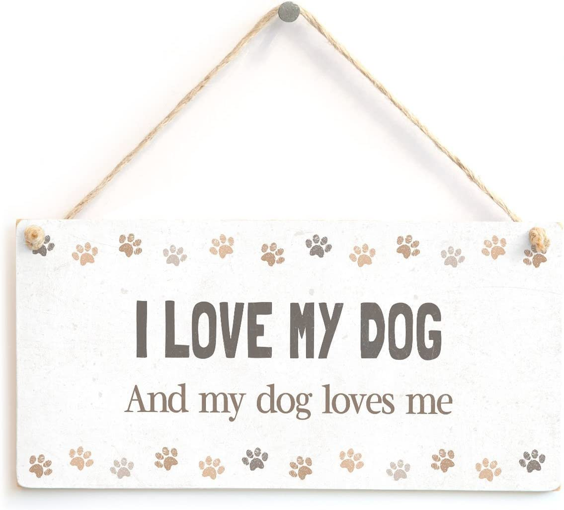 Meijiafei I Love My Dog and My Dog Loves me - Adorable Home Accessory Gift Sign for Dog Owners 10