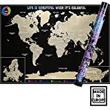 Scratch off World Map Poster - Travel Tracker - Large Laminated Scratchable Map - Premium Quality-32x23. Made in Europe