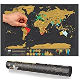 World Map Deluxe Travel Poster Personalized Edition Scratch Off Journal Log By Delaman