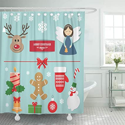 Emvency Shower Curtain Christmas New Year Stickers Angel Deer Gingerbread Man Mitten Snowman Candle Holly Bell