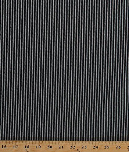 Railroad Engineer Denim Stripe Navy White Fabric By the Yard (2917F-8N) (Denim Stripe Fabric)