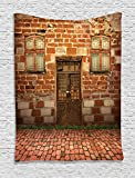 Ambesonne Rustic Decor Collection, Antique Exterior with Old Door and Windows Frontage Building Decorating Art, Bedroom Living Room Dorm Wall Hanging Tapestry, Peru Green Caramel Ivory