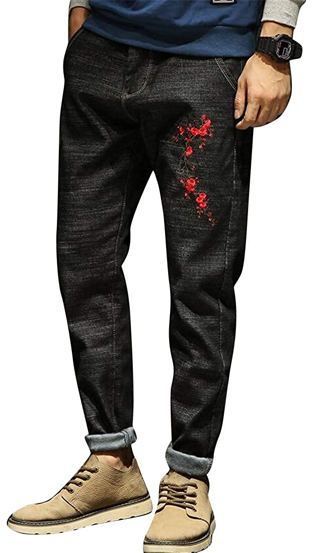 SHOWNO Men Fall Winter Floral Embroidery Fleece Loose Warm Thicken Jeans Denim Pants