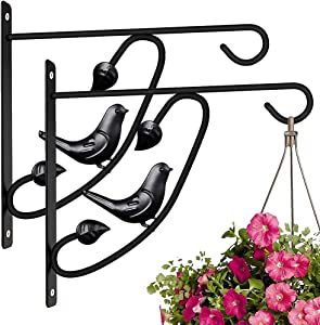 2 Pack Hanging Plants Bracket 12in Wall Planter Hook Flower Pot Bird Feeder Hanger for Fence and Trees Wind Chime Lanterns Outdoor Indoor Patio Lawn Garden Shelf Fence Screw Mount Against Door Arm