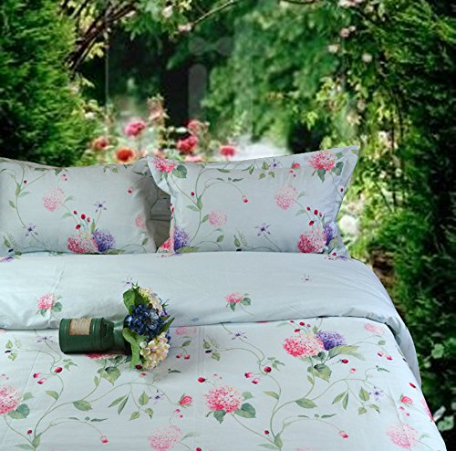 - Riho 100% Pima Cotton Twim Full Queen Size Rural Flowers Floral Rose Elegant Comfortable Bedding Sets Bedding Collections Bedding Sheets,4-Pieces(1 Duvet Cover+1 Sheet+2Pillowcases) (Queen, Lefu)