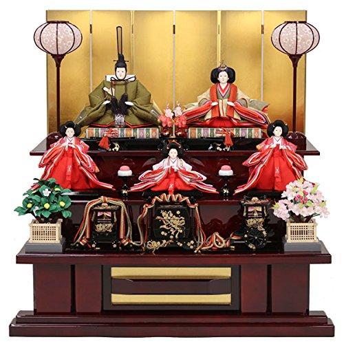 雛人形 3段飾り5人飾り金屏風ひな人形 お雛様 初節句飾り お祝い   B0785ZK526