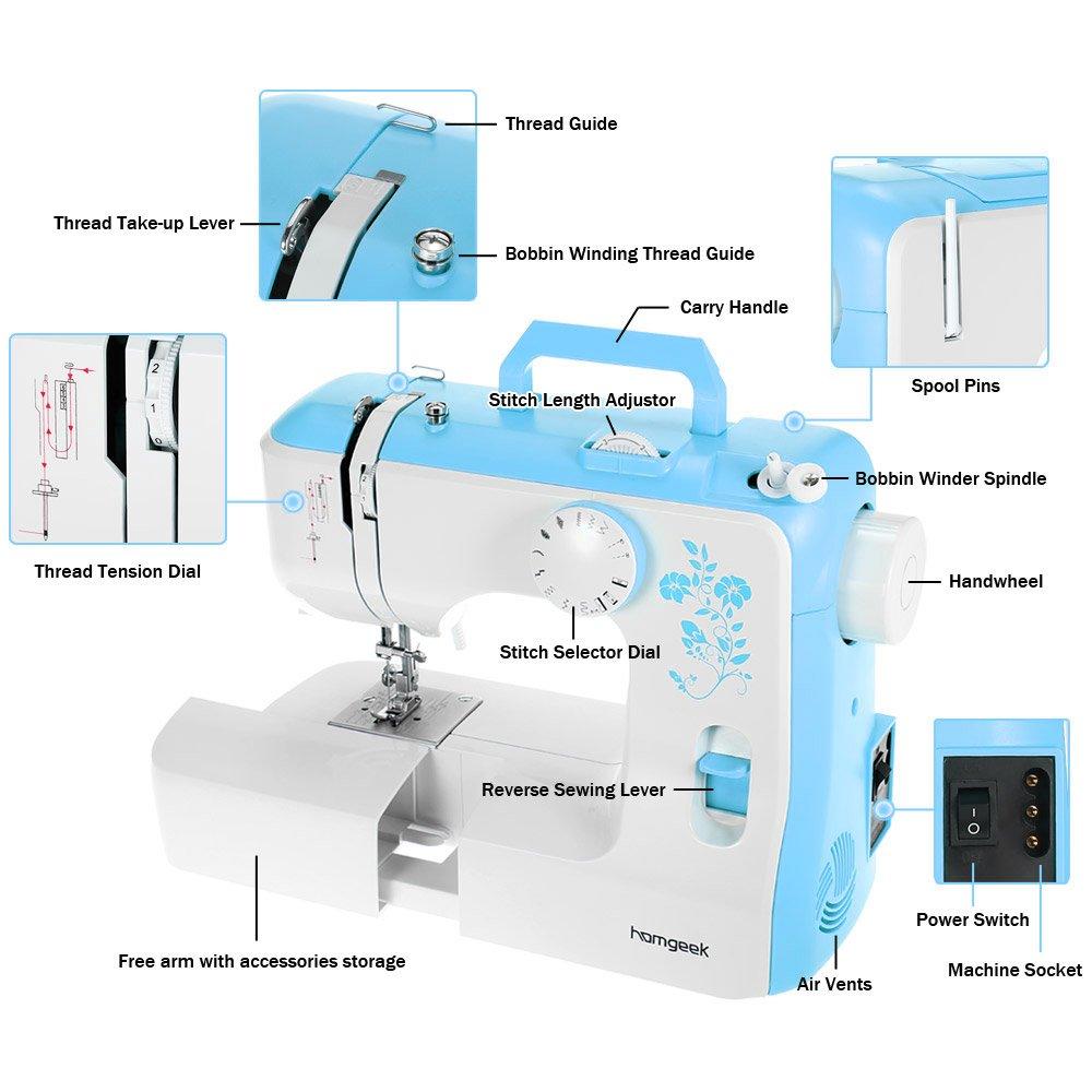 homgeek 588 - Máquina de Coser eléctrica con led luz (12 Puntadas,4-Pasos Ojales,automática devanadera de Bobina): Amazon.es: Hogar