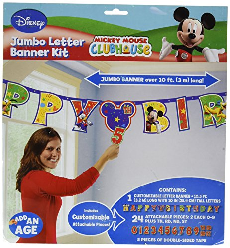 Amscan Disney Mickey Mouse Birthday Party Add-An-Age Customizable Jumbo Letter Banner Decoration, 10 1/2' X 10