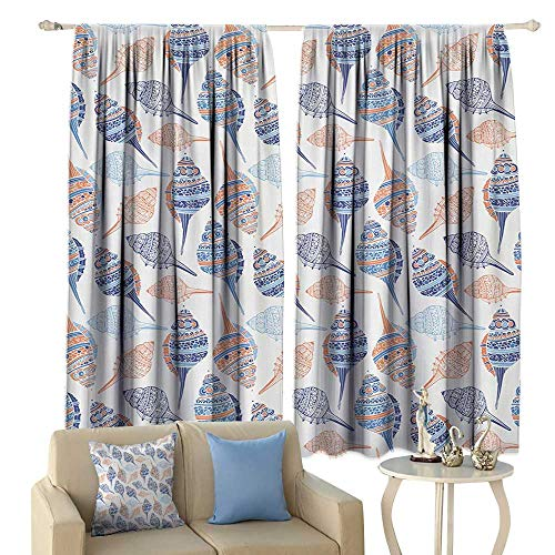 Insulated Sunshade Curtain Ocean Marine Life Themed Abstract Seashells Scallops with Bohemic Prints Noise Reducing Marigold Navy Blue and Blue