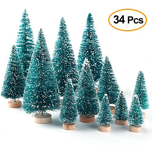 KUUQA 34Pcs Mini Sisal Snow Frost Trees Bottle Brush Trees Plastic Winter Snow Ornaments Tabletop Trees for DIY Room Decor Home Table Top Decoration Diorama Models (Tree Christmas Decorate Small)