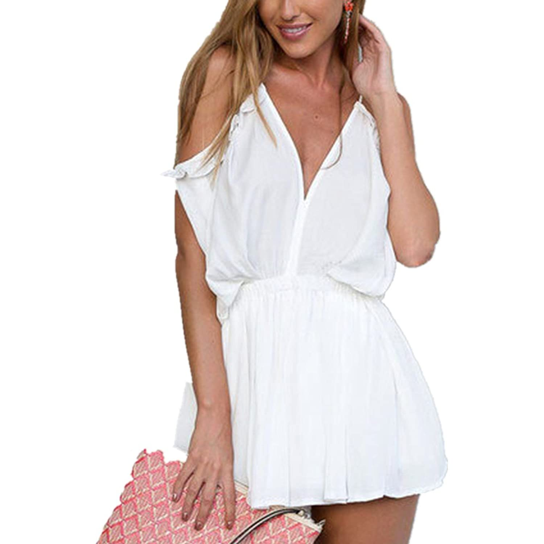 LOBTY Damen Jumpsuit V-Ausschnitt Shorts Einteiler Overall Strampelhöschen Cocktail Kleider Off-Schulter Playsuits Romper Kurz Hose High Waist