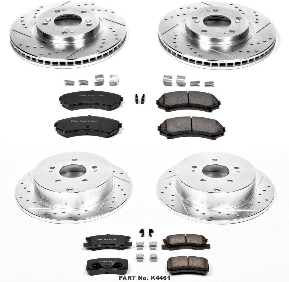 Power Stop K4461 Front /& Rear Brake Kit with Drilled//Slotted Brake Rotors and Z23 Evolution Ceramic Brake Pads
