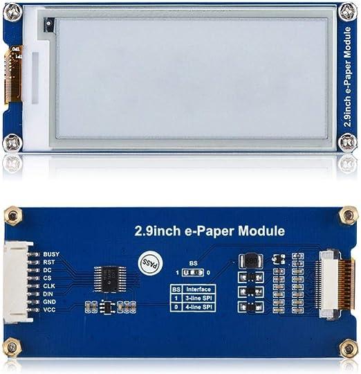 ラズベリーパイスクリーン 2.9インチ 296 x 128解像度 E-Ink E-Paper ディスプレイモジュールボード 超低消費電力 広視野角 Raspberry Pi/Arduino/Nucleo用 棚札 産業用機器など用