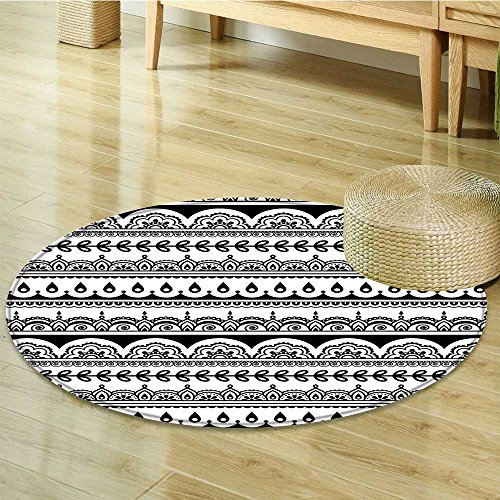 Small round rug Carpet Tribal Borders with Leaves s Ivy Swirls Inspired Art Black and White door mat indoors Bathroom Mats Non Slip-Round - Border Rug Leaf