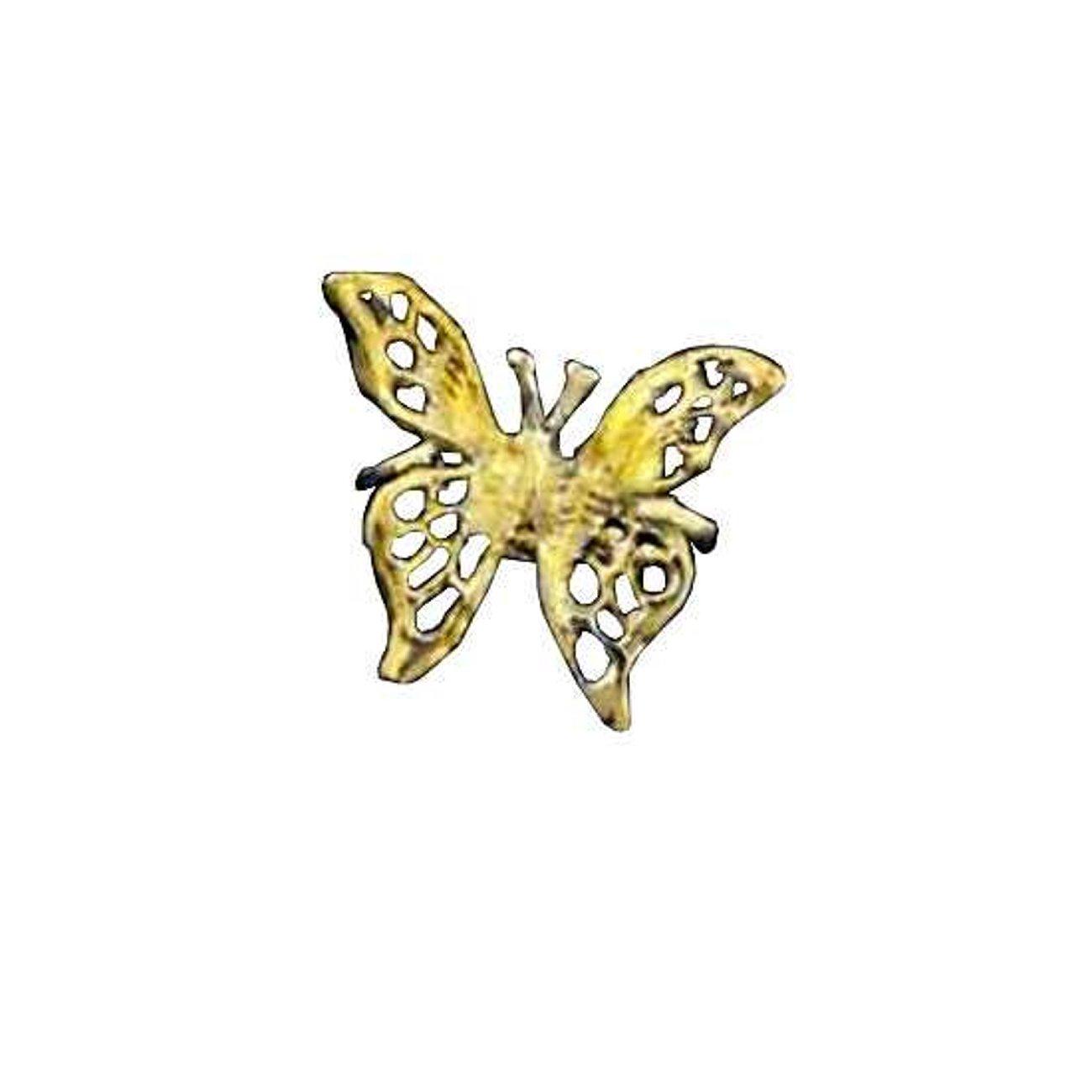 Gold Vermeil Left Only Pierceless 3D Open Butterfly Ear Cuff Wrap