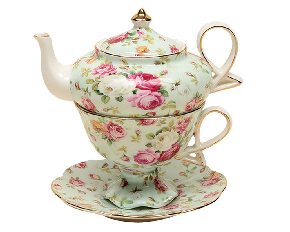Gracie China by Coastline Imports 4-Piece Porcelain Tea for One, Stacked Teapot Cup Saucer, Blue Cottage Rose Chintz