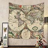 Gzhihine Custom tapestry Old World Globe Map Antique Ancient Historical America Africa Europe Pattern Unique Decor Digital Printed Tapestry Living Room Bedroom Dorm Decor Beige Green Gray Orange