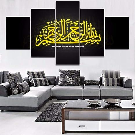 YCOLLC Peinture Moderne Peinture Modulaire Cuadros 5 Panneau Décoration  Musulmane Toile Art Décoration Murale Cadre Pour