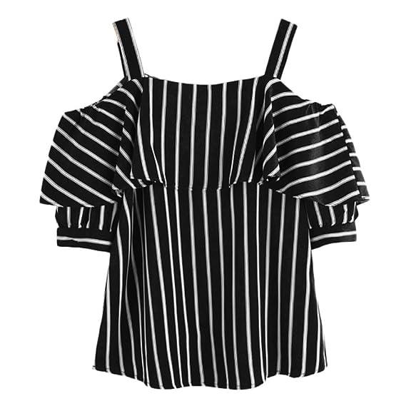 Blusa Fiesta Blusa Mujer Talla Grande Blusa Sin Hombros con Estampado De Rayas Y Volantes Sin Tirantes: Amazon.es: Ropa y accesorios