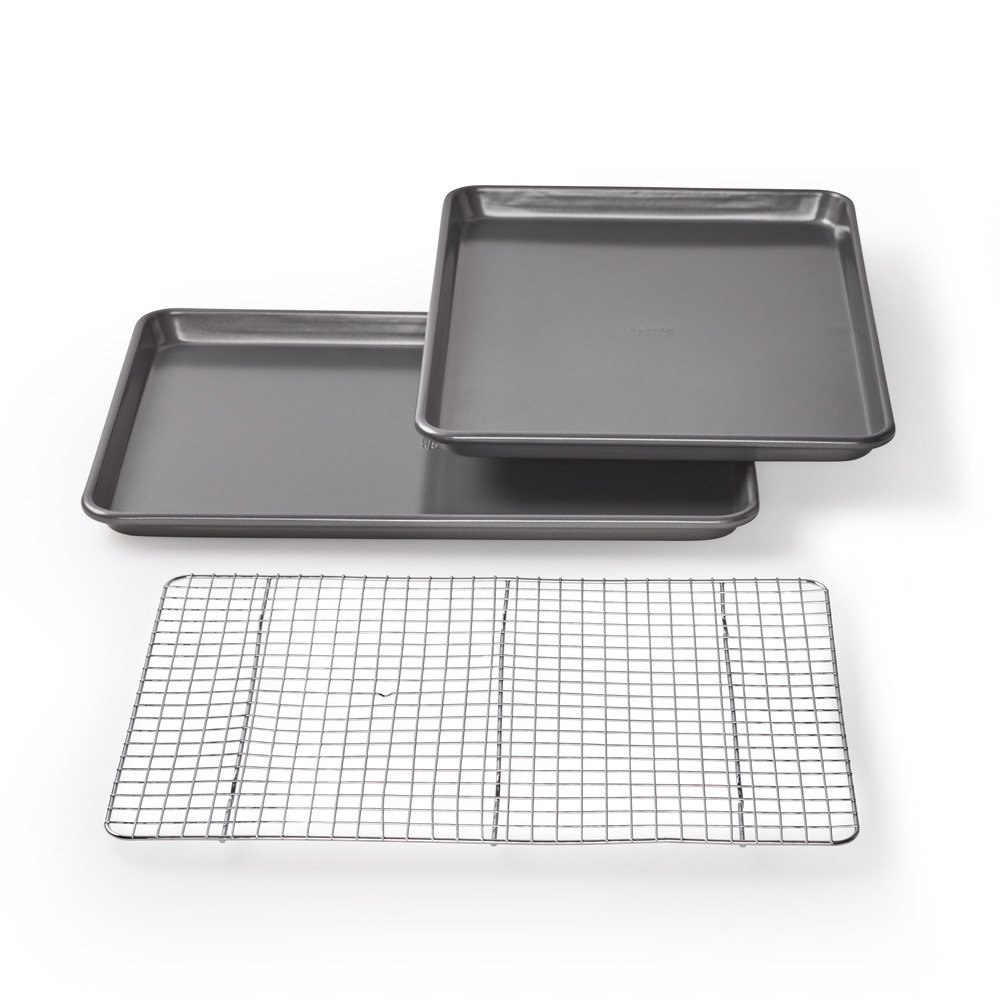 Chicago Metallic 16833 Non-Stick Value Pack with 2 Cookie/Jelly Roll Pans and Cooling Grid, 3-Piece
