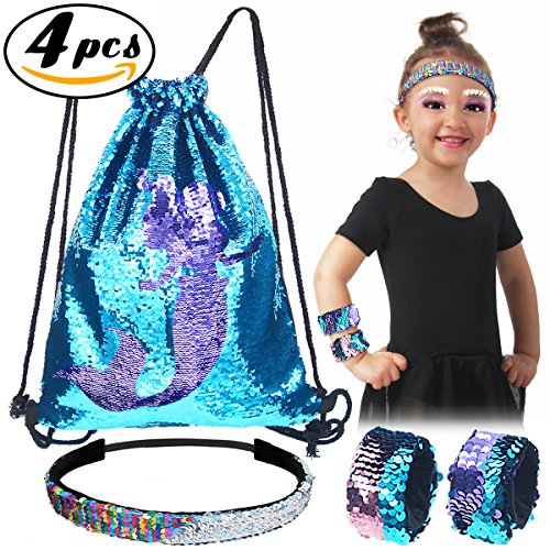 Pawliss Set of 4 Little Mermaid Magic Reversible Sequin Birthday Party Gifts for Girls Kids, Sequined Slap Bracelets Drawstring Bag Backpack Headband, Blue & (Fabric Halloween Treat Bag)