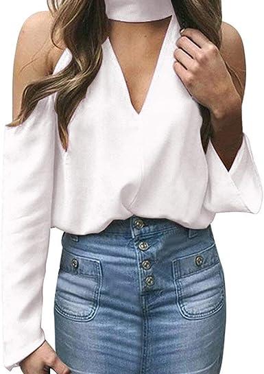 Blusa Mujer Caída Manga Larga Botón De Sólidos Vintage Frío Colores Hombro Top Camisetas Camisetas Vendimia Camisa Informal Tops Mujeres (Color : D-White, Size : L): Amazon.es: Ropa y accesorios