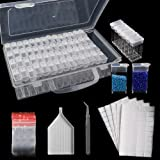 SGHUO 64 Slots Diamond Painting Storage Containers Portable Plastic Bead Storage Box with Funnel Plate 200pcs Label Stickers and Tweezers