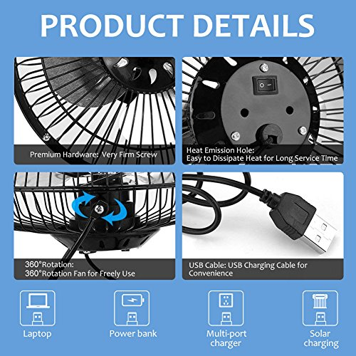 Yosooo 3W USB Solar Panel Powered Mini Portable Fan for Cooling Ventilation Outdoor Home Travelling Chicken House Car Ventilation System 4 Inch by Yosooo (Image #2)