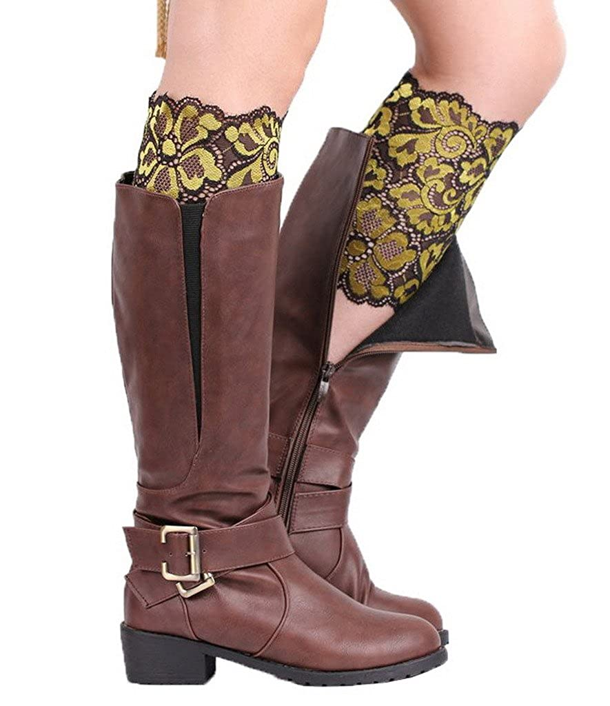 COMVIP Stretch Lace Floral Boot Cuffs Leg Socks Topper Cuff for Women