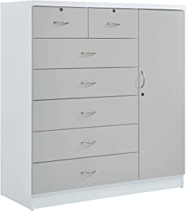 Hodedah 7 Drawer Jumbo Chest, Five Large Drawers, Two Smaller Drawers with Two Lock, Hanging Rod, and Three Shelves | Grey-White
