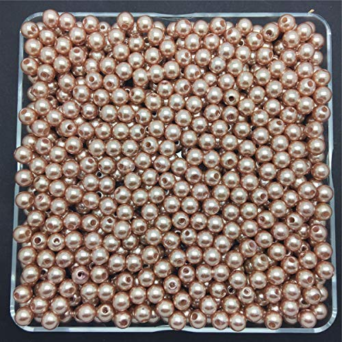 DIY 100PCS 6mm Light Brown Acrylic Round Pearl Spacer Loose Beads Jewelry Making -