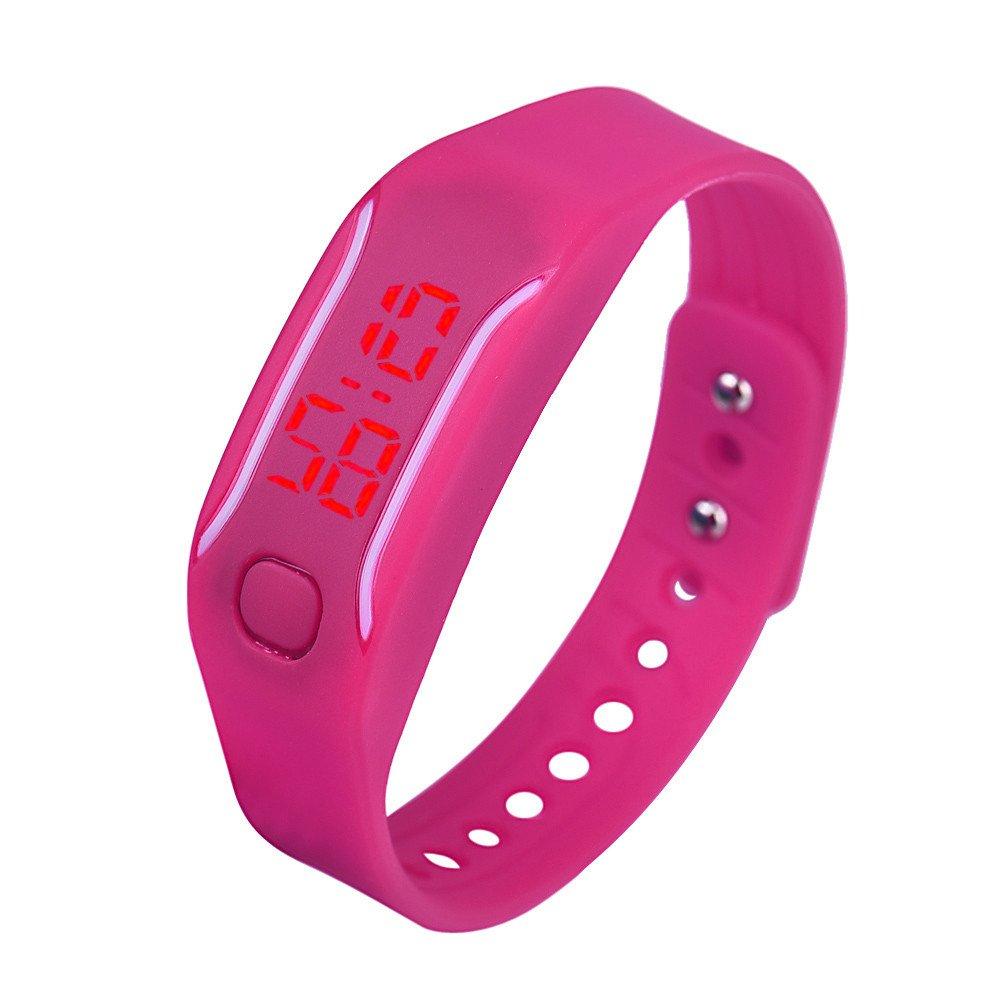 Digital Sport Watch for Mens Womens Silicone LED Date Bracelet Wrist Watch Unisex Sports Watch Yamally (Hot Pink )