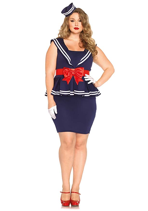 Sailor Dresses, Nautical Theme Dress, WW2 Dresses Leg Avenue Womens Plus-Size 3 Piece Aye Aye Amy Sailor Costume  AT vintagedancer.com