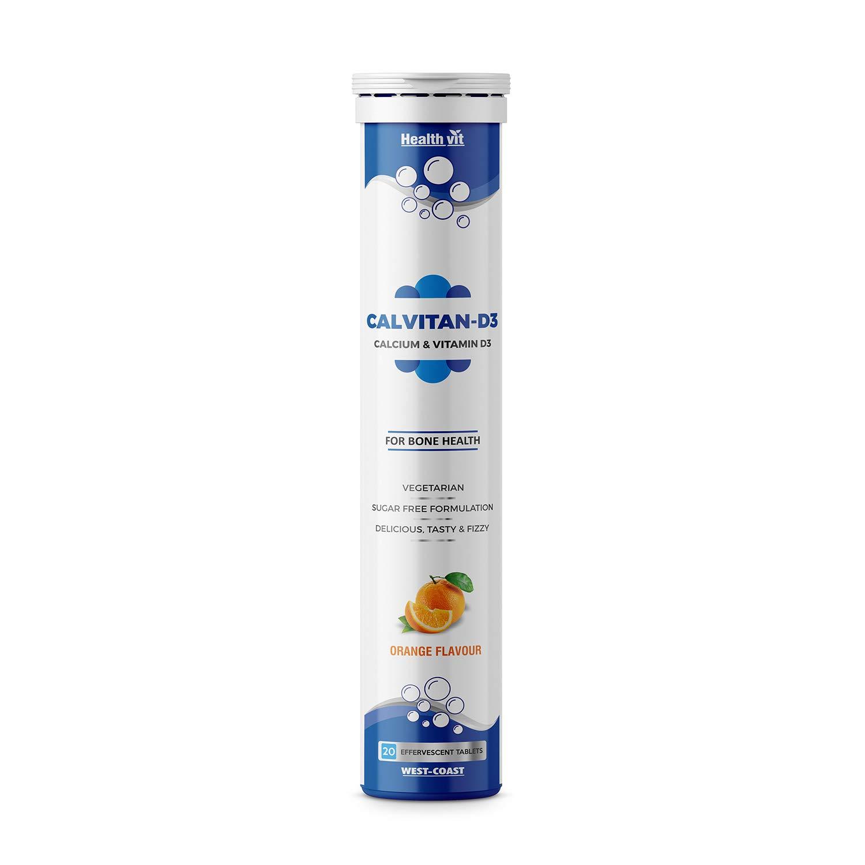 Healthvit Calvitan-D3 Calcium 500mg & Vitamin D3 400 IU for Bone Health 20 Effervescent Tablets (Orange Flavour)