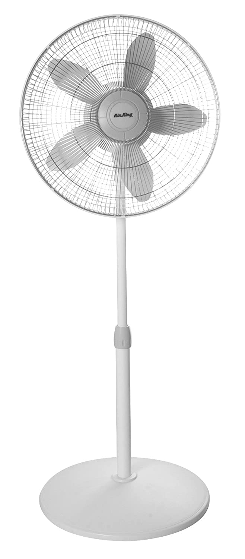Air King 9119 18-Inch 3-Speed Commercial Grade Adjustable Oscillating Pedestal Fan, 1 20-Horsepower, White