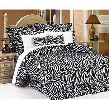 beautiful 7 pc black and white zebra print faux fur king size comforter bedding set