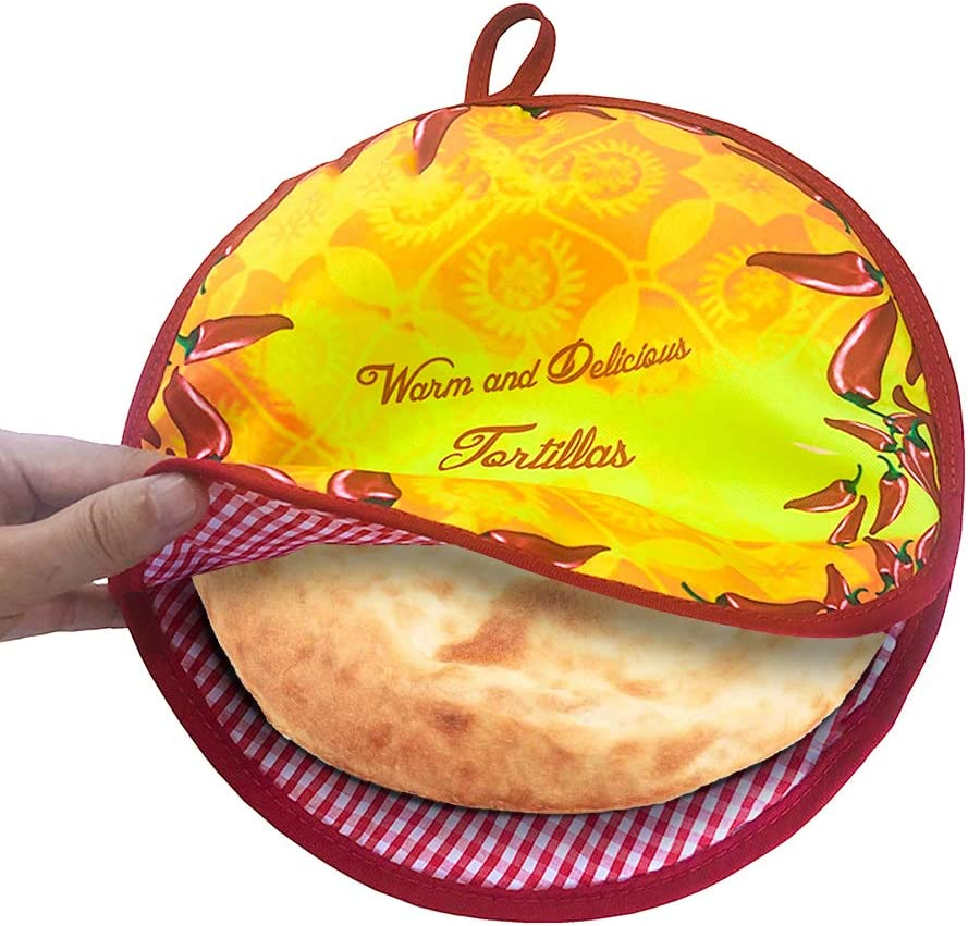 Pancakes Warmer,12 Inch Insulated and Microwaveable,Cloth Fabric Bag Pouch Keeps Food Warm for up to One Hour!Tortilla Holder for Corn & Flour Taco,Pizza,Bread Keeper,No More Wet & Soggy (Red)