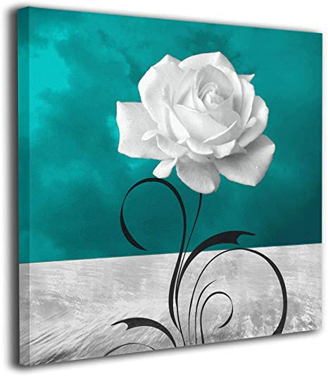 Amazon Com 20 X20 Black White Teal Rose Flower Comtemporary Modern Wall Art On Canvas Contemporary Artwork For Bedroom Living Room Stretched Framed Ready To Hang Posters Prints