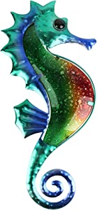 HONGLAND Metal Green Seahorse Wall Decor Outdoor Indoor Wall Art Sculpture Hanging Glass Decorations for Home Garden Bedroom