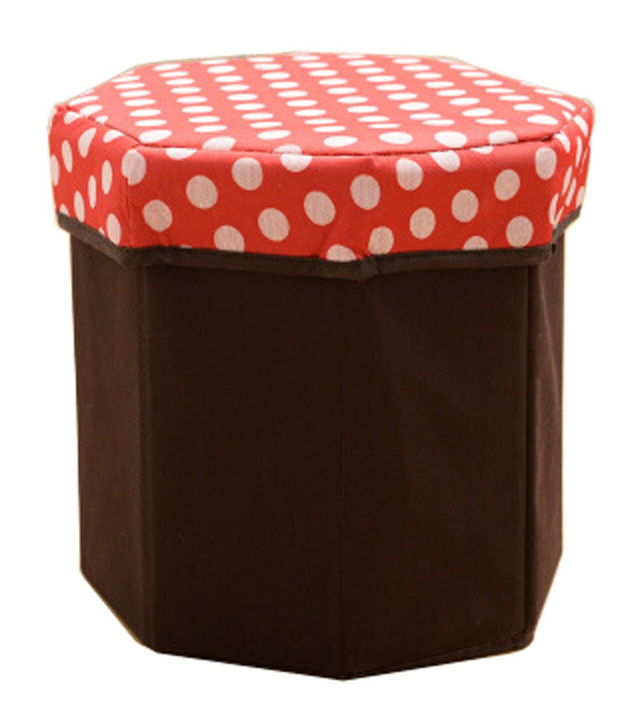Blancho Storage Ottoman Collapsible Foldable Foot Rest Round Storag Ottoman RED Blancho Bedding