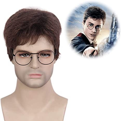 stfantasy Hombres peluca Harry Potter Cosplay Wig Real Natural marrón corto derecha tumbado como para Halloween