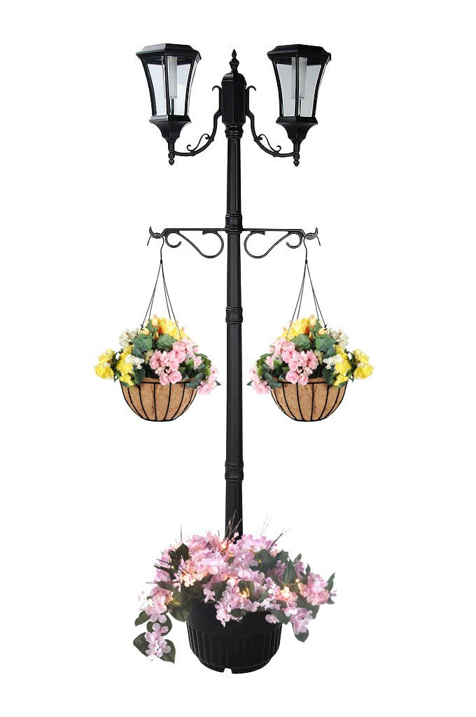 7.25 ft (87 in) Tall Solar Lamp Post w/ Plant Hangers-2 Heads, White LEDs, Black Product SKU: SO30357