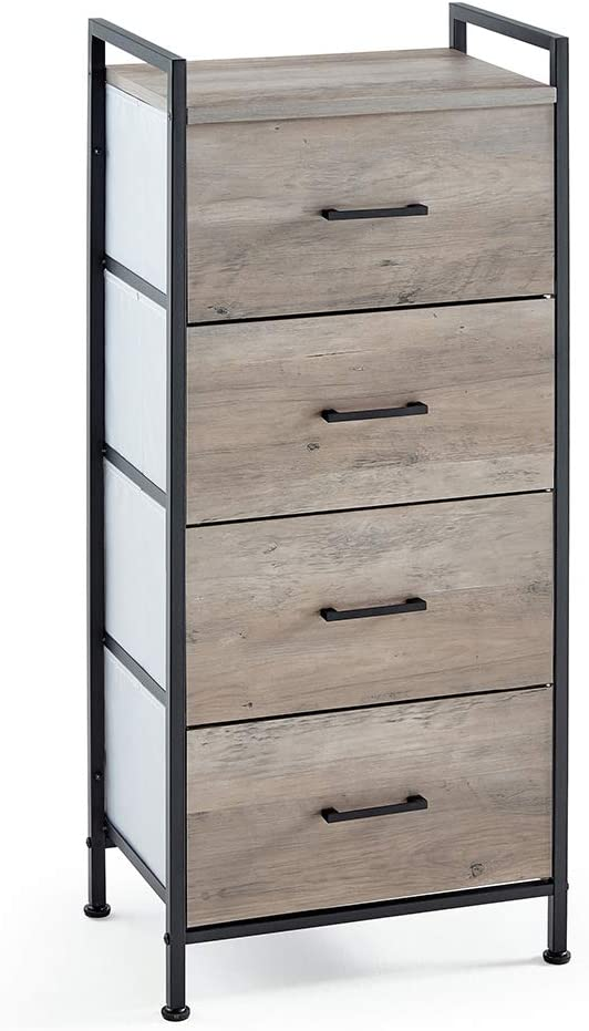 Linsy Home 4 Drawer Nightstand, Tall Storage Tower Dresser Unit for Living Room, Bedroom, Hallway, Nursery, LS200E2-A