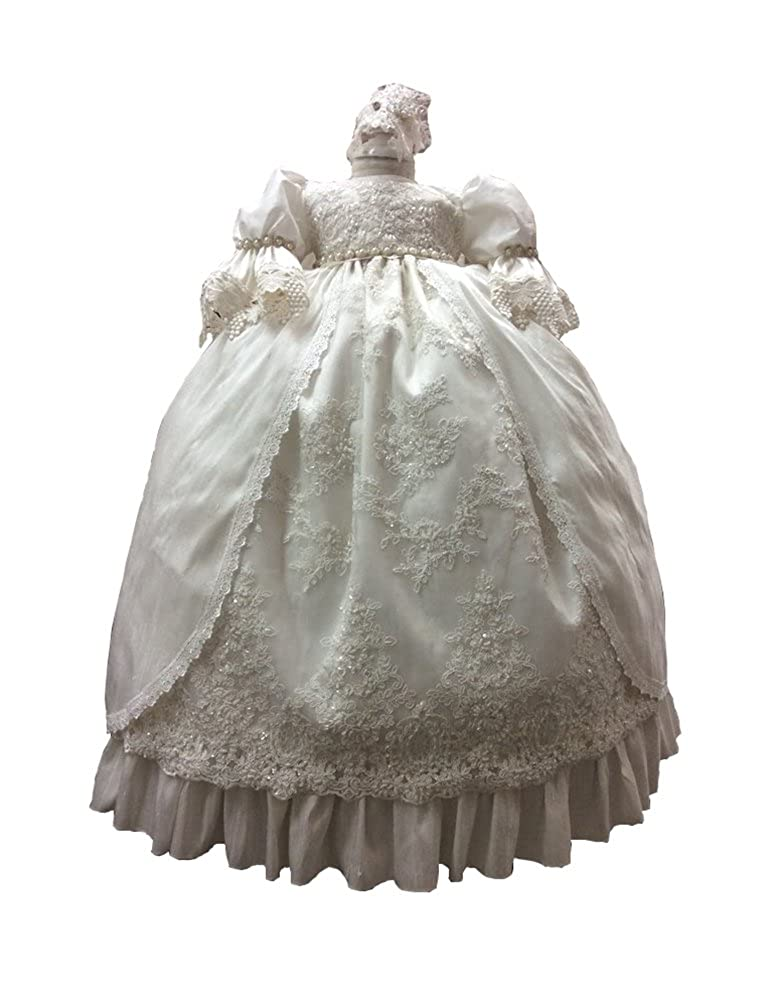 BuyBro Baby Girls Christening Gowns Long Beading Lace Baptism Dress