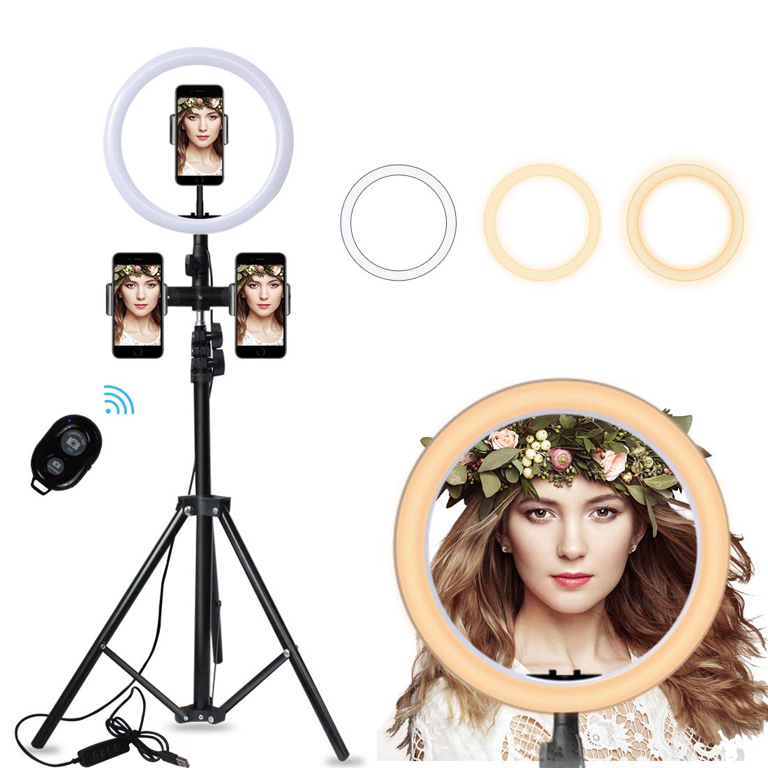 Ring Light - 10 inch Selfie Ring Light with Extendable Tripod Stand and Multifunction Phone Holders for Multi-Platform Live Stream, Makeup, YouTube, Compatible with iPhone/Android by ZAZE