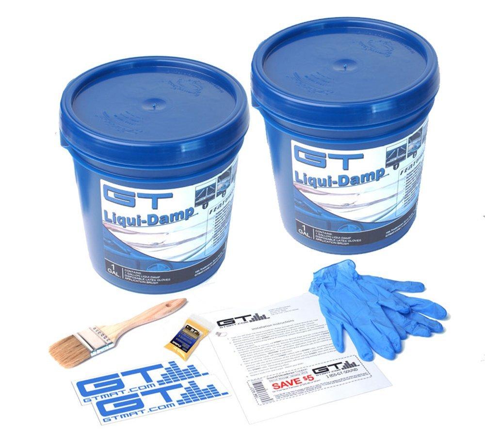 2 Gallon GT Liqui-Damp Car Liquid Sound Dampener Kit - Includes: 2 GAL GT Liqui-Damp, Instruction Sheet, Application Brush, Degreaser, GT MAT Decals, and Disposable Gloves